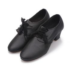 Женщины кожа На каблуках Танцевальные кроссовки с Шнуровка Обувь для танцев (053104909)