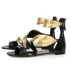 Aitoa nahkaa Matalakorkoiset Heel Sandaalit Matalakorkoiset kengät (087044513)