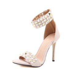Women's Suede Stiletto Heel Sandals Pumps Peep Toe With Imitation Pearl Rivet Zipper shoes (087151056)