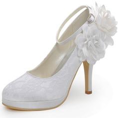 Женщины Кружева Высокий тонкий каблук Закрытый мыс На каблуках с пряжка цветы (047042434)