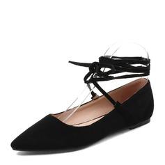 Женщины Замша Плоский каблук На плокой подошве Закрытый мыс с Шнуровка обувь (086153762)