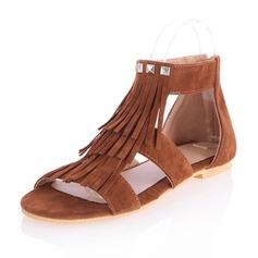 Замша Плоский каблук Сандалии На плокой подошве Открытый мыс с Застежка-молния кисточка обувь (087064082)