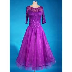 Женщины Одежда для танцев Спандекс Органза Латино Платья (115091490)