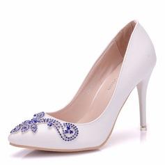 Femmes Similicuir Talon bobine Bout fermé Chaussures plates avec Cristal (047166114)