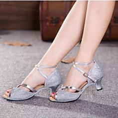 Женщины Мерцающая отделка На каблуках Сандалии На каблуках Латино с Ремешок на щиколотке В дырочку блестками Обувь для танцев (053102751)