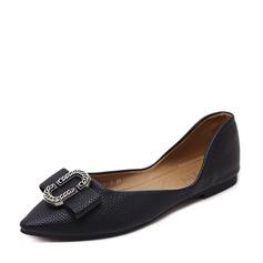 Женщины PU Плоский каблук На плокой подошве Закрытый мыс с пряжка обувь (086139687)