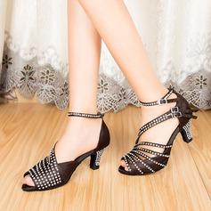 Женщины Атлас На каблуках Сандалии Латино с горный хрусталь Обувь для танцев (053085775)