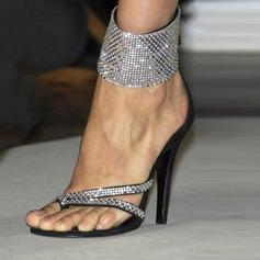 Женщины Замша Высокий тонкий каблук Сандалии На каблуках Открытый мыс с блестками Застежка-молния обувь (087124932)