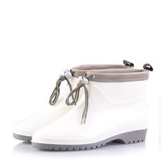 Женщины PVC Низкий каблук Ботинки Сапоги до середины голени Резиновые сапоги с Шнуровка обувь (088138975)