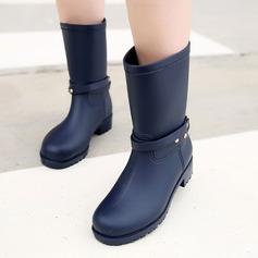 Женщины PVC Низкий каблук Ботинки Сапоги до середины голени Резиновые сапоги с блестками заклепки обувь (088131044)