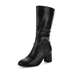 Vrouwen PU Chunky Heel Pumps Laarzen Half-Kuit Laarzen met Rits Keten schoenen (088143755)