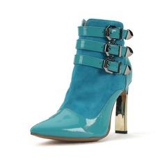 Натуральня кожа Лакированная кожа Высокий тонкий каблук На каблуках Закрытый мыс Полусапоги с пряжка обувь (088060452)