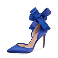 Женщины шелка как атласное Высокий тонкий каблук На каблуках Закрытый мыс с бантом обувь (085153101)