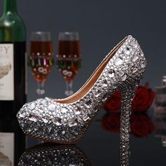 Женщины кожа Высокий тонкий каблук Закрытый мыс На каблуках с горный хрусталь Каблуки с украшением (047046170)