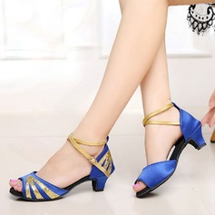 Детская обувь Атлас Мерцающая отделка На каблуках Сандалии Латино Обувь для танцев (053121195)