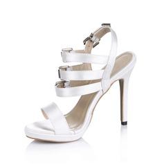 Mulheres como o cetim de seda Salto agulha Peep toe Plataforma Sandálias Sapatos abertos com Fivela (047029164)