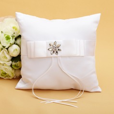 Chic Ring Pillow in Satin With Ribbons/Rhinestones (103038621)