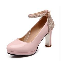 Женщины кожа Устойчивый каблук На каблуках Закрытый мыс с Мерцающая отделка пряжка обувь (085124731)