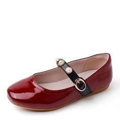 девичий Закрытый мыс Балетная квартира Кожа из микроволокна Плоский каблук На плокой подошве Обувь для девочек с развальцовка пряжка (207157189)