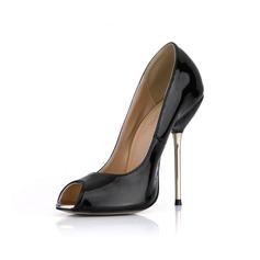Femmes Cuir verni Talon stiletto Sandales À bout ouvert chaussures (085022633)