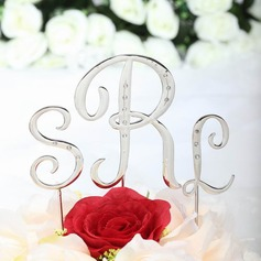 Monogram Chrome Wedding Cake Topper (119030809)