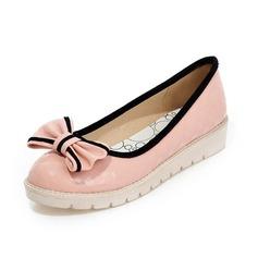 Patent Leather Flats Pumps Closed Toe met Strik schoenen (086061977)