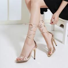 Женщины кожа PVC Высокий тонкий каблук Сандалии с Лента обувь (087119971)