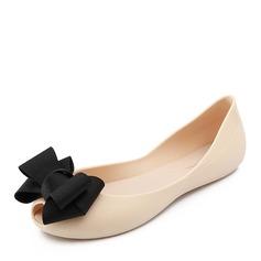 Kvinner PVC Flate sko Titte Tå med Bowknot sko (086165216)