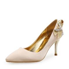 Женщины Шелковые Высокий тонкий каблук На каблуках с хрусталь блестками обувь (085113637)