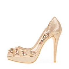 Женщины сетка Высокий тонкий каблук Закрытый мыс Платформа Beach Wedding Shoes с горный хрусталь (047126544)