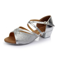 Детская обувь кожа Мерцающая отделка На каблуках Сандалии Латино с Ремешок на щиколотке Обувь для танцев (053053086)