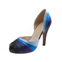 Женщины кожа Высокий тонкий каблук Сандалии Открытый мыс обувь (087050256)
