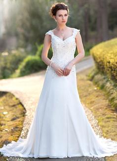 Corte A/Princesa Escote en V Cola corte Gasa Vestido de novia con Encaje Cuentas Lentejuelas (002000159)