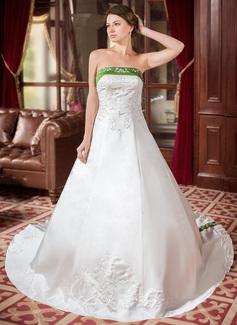 Corte de baile Sin tirantes Tren real Satén Vestido de novia con Bordado Fajas Cuentas (002000040)