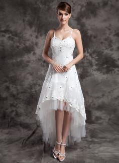 Corte A Escote en V Asimétrico Organdí Tul Vestido de novia con Cuentas Los appliques Encaje (002024067)