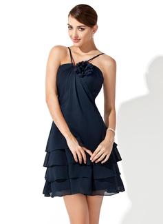 A-linjainen/Prinsessa V-kaula-aukko Lyhyt/Mini Sifonki Morsiusneitojen mekko jossa Kukka(t) (007000915)