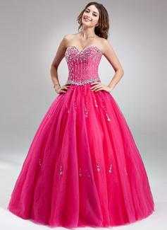 Corte de baile Escote corazón Hasta el suelo Tul Vestido de quinceañera con Bordado (021018672)