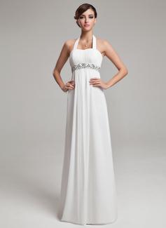 Corte imperial Cabestro Hasta el suelo Gasa Vestido de novia con Volantes Cuentas Lentejuelas (002012638)