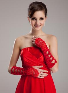 Satén elástico Codo Largo Guantes de novia (014020466)