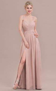 A-linjainen/Prinsessa Kultaseni Lattiaa hipova pituus Sifonki Morsiusneitojen mekko jossa Rypytys Halkio edessä (007117361)