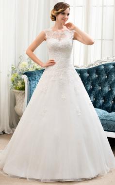 Corte De Baile/Princesa Espejismo Barrer/Cepillo tren Organdí Tul Vestido de novia con Cuentas Lentejuelas (002054358)