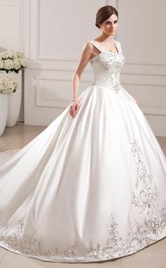 Corte de baile Novio Tren de la catedral Satén Vestido de novia con Bordado Cuentas Lentejuelas (002012772)