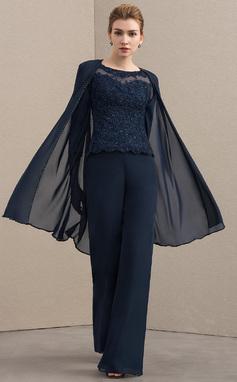 Pyöreä kaula-aukko Lattiaa hipova pituus Sifonki Pitsi Morsiamen äiti-mekko jossa Helmikoristelu (008152138)