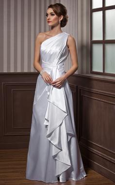 Corte A/Princesa Un sólo hombro Hasta el suelo Charmeuse Vestido de noche con Cascada de volantes (017021116)