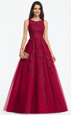 Corte De Baile/Princesa Escote redondo Barrer/Cepillo tren Tul Vestido de novia con Cuentas (002207441)