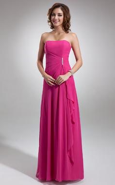 A-linjainen/Prinsessa Kullanmuru Lattiaa hipova pituus Sifonki Morsiusneitojen mekko jossa Helmikuvoinnit Laskeutuva röyhelö (007001085)