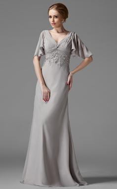 Empire-tyylinen V-kaula-aukko Lattiaa hipova pituus Sifonki Morsiamen äiti-mekko jossa Rypytys Pitsi Helmikoristelu (008003198)