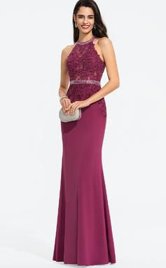 Vestido tubo Escote redondo Hasta el suelo Jersey Vestido de baile de promoción con Cuentas Lentejuelas (018187185)