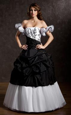 Tanssiaismekot Olkaimeton Lattiaa hipova pituus Tafti Tylli Quinceanera mekko jossa Rypytys Pitsi Helmikuvoinnit (021002835)