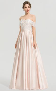 Corte De Baile/Princesa Fuera del hombro Hasta el suelo Satén Vestido de novia con Lentejuelas (002207426)